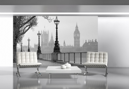 London City Big Ben fog wall mural